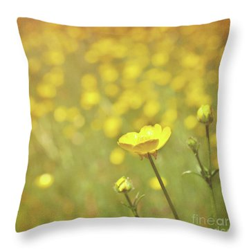 Buttercups Throw Pillow by Lyn Randle