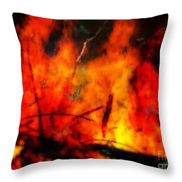 Butterflies And Flame Throw Pillow