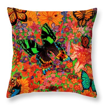 Butterflies And Flowers Throw Pillow by Nick Gustafson