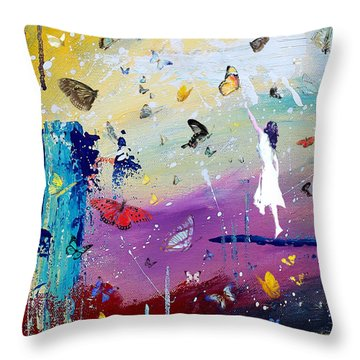 Butterflies And Me Throw Pillow