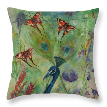 Butterflies And Peacock Throw Pillow