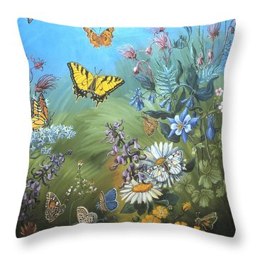 Butterflies And Wildflowers Of Wyoming Throw Pillow