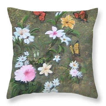 Butterflies Throw Pillow by Catherine Swerediuk