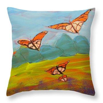 Butterflies Flying 2 Throw Pillow