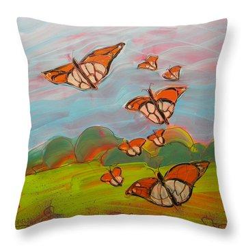 Butterflies Flying 3 Throw Pillow