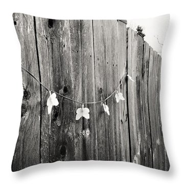 Butterflies On A Rustic Fence Throw Pillow