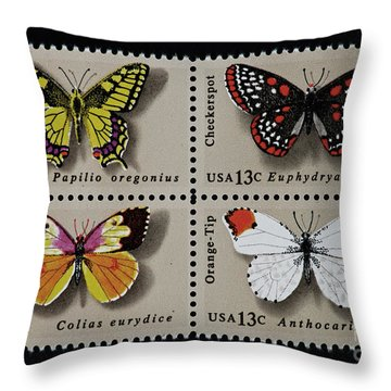 Butterflies Postage Stamp Print Throw Pillow