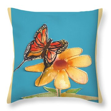 Throw Pillow featuring the painting Butterflower by Denise Fulmer