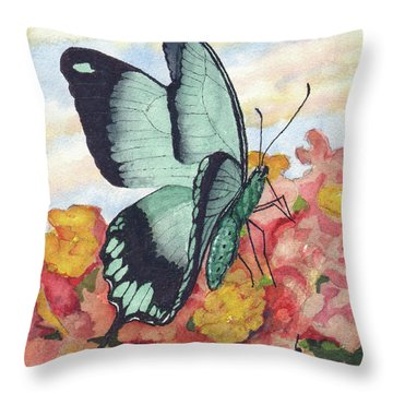 Throw Pillow featuring the painting Butterfly 180727 by Sam Sidders