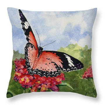 Throw Pillow featuring the painting Butterfly - 180709 by Sam Sidders