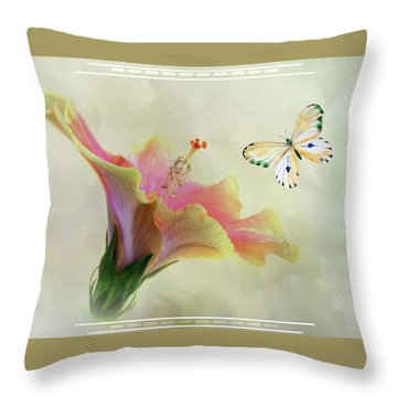 Butterfly And Fiesta Hibiscus Throw Pillow