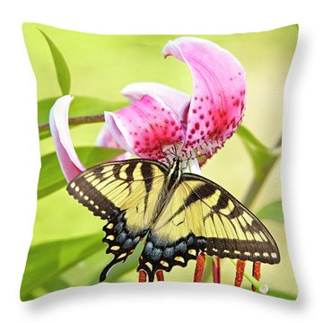 Butterfly And Lily Throw Pillow