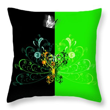 Butterfly And Ornament Throw Pillow by Svetlana Sewell
