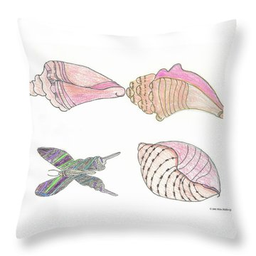 Butterfly And Sea Shells Throw Pillow