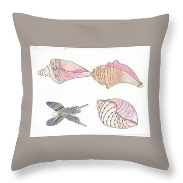 Butterfly And Seashells Throw Pillow