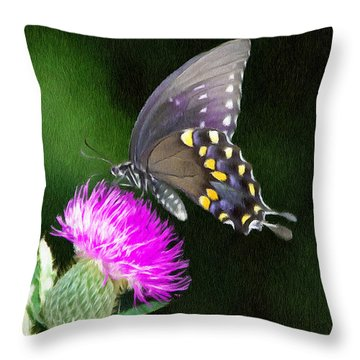 Butterfly And Thistle Throw Pillow by Jeff Kolker