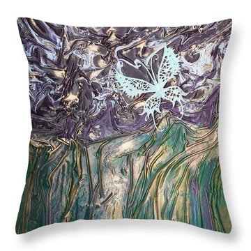 Butterfly Throw Pillow by Angela Stout