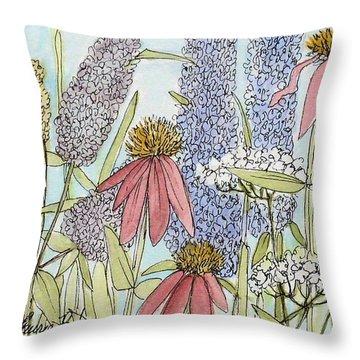 Butterfly Bush In Garden Throw Pillow