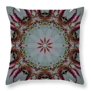 Butterfly Bush Kaleidoscope Throw Pillow