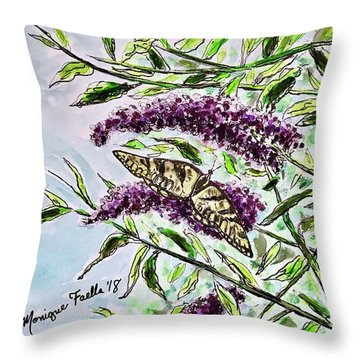 Throw Pillow featuring the painting Butterfly Bush by Monique Faella