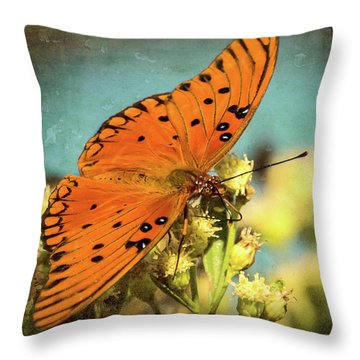 Butterfly Enjoying The Nectar Throw Pillow
