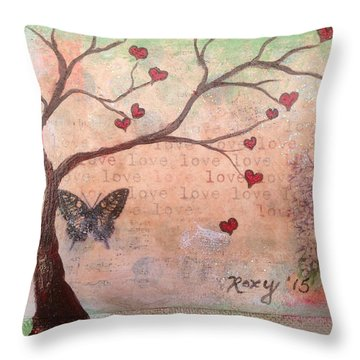 Butterfly Fairy Heart Tree Throw Pillow