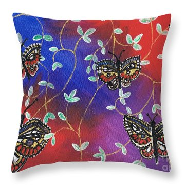Butterfly Family Tree Throw Pillow