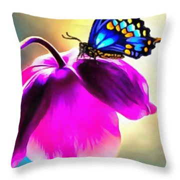 Butterfly Floral Throw Pillow