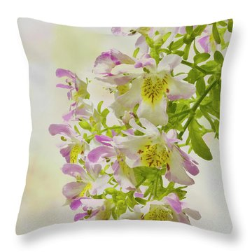 Butterfly Flowers  Throw Pillow by Sandra Foster