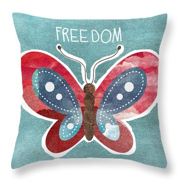 Butterfly Freedom Throw Pillow by Linda Woods