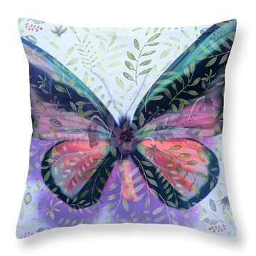 Butterfly Garden Fantasy Throw Pillow