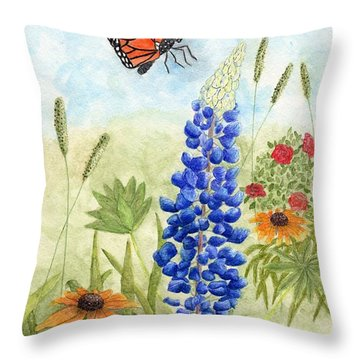 Throw Pillow featuring the painting Butterfly Garden by Peggy A Borel