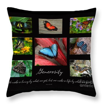 Throw Pillow featuring the photograph Butterfly Generosity Collage by Diane E Berry
