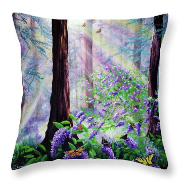 Butterfly Grove In Redwood Forest Throw Pillow