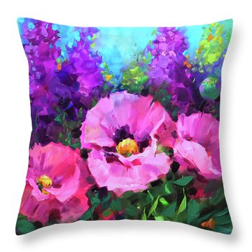 Butterfly Haven Pink Poppies Throw Pillow