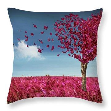 Butterfly Heart Tree Throw Pillow