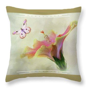 Butterfly Hibiscus Art II Throw Pillow