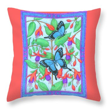 Butterfly Idyll-fuchsias Throw Pillow