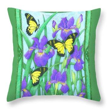 Butterfly Idyll-irises Throw Pillow