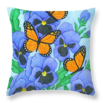 Butterfly Idyll-pansies Throw Pillow