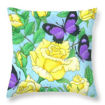 Butterfly Idyll-roses Throw Pillow
