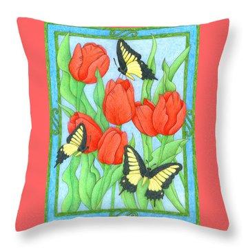 Butterfly Idyll-tulips Throw Pillow