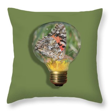 Butterfly In A Bulb II Throw Pillow
