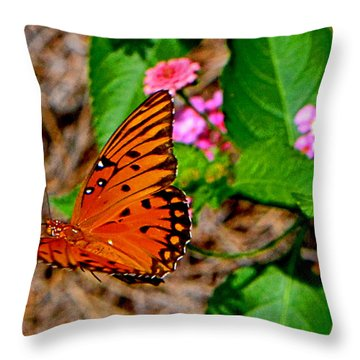 Throw Pillow featuring the photograph Butterfly In Flight 002 by George Bostian