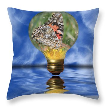 Butterfly In Lightbulb - Landscape Throw Pillow