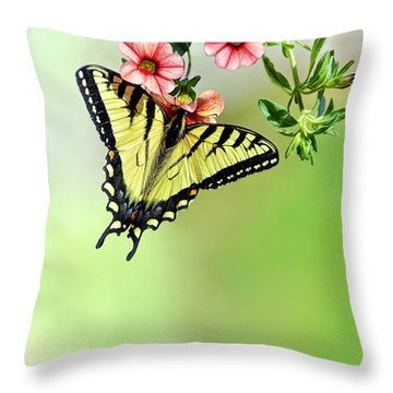 Butterfly In My Garden Throw Pillow