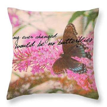 Butterfly Kisses Quote Throw Pillow by JAMART Photography