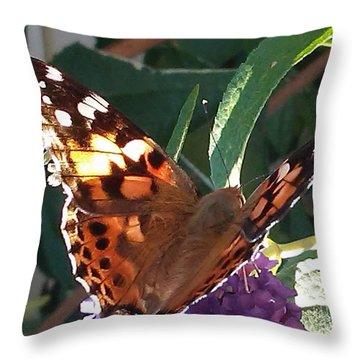 Butterfly Landing Throw Pillow