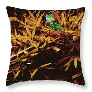 Butterfly Landscape Throw Pillow by Asok Mukhopadhyay