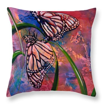 Throw Pillow featuring the painting Butterfly Love by AnnaJo Vahle